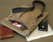 Tablet Minimal bag with shoulder strap - slim and expanding with room for iPhone, glasses, wallet, keys, cards, pens etc