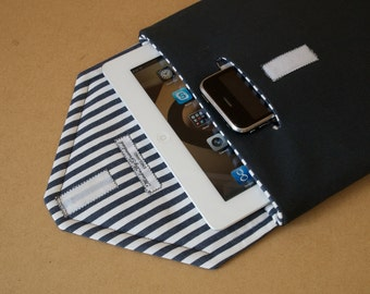 iPad case with padded fabric cover and iPhone pouch