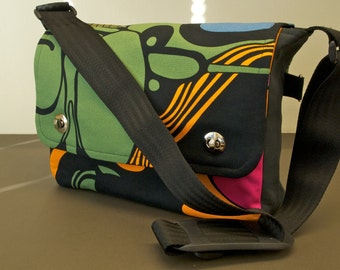 Messenger Bag with shoulder strap - fabric satchel for Tablet, Camera, eReader, Laptop