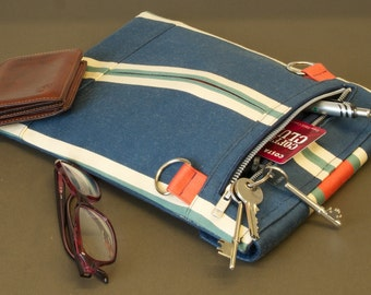 Tablet Minimal bag with shoulder strap - slim and expanding with room for iPhone, glasses, wallet, keys, cards, pens etc