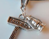 Camping Sign and Lantern Charm Pendant for Necklace