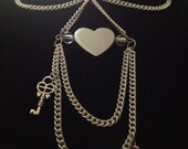necklace wedding white skeleton key chain glass beads heart steampunk hand crafted