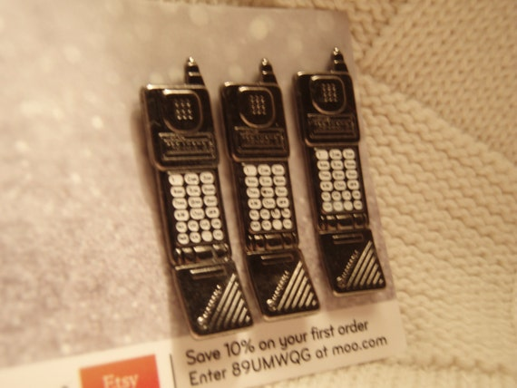 Vintage Cell phone pin set of 3 steampunk