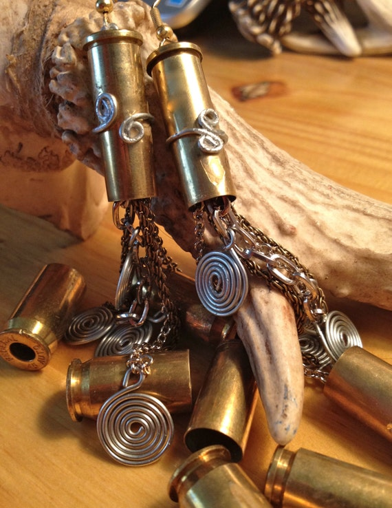 Ammo bullet Earrings chain handcrafted upcycled gun jewelry cowgirl country prairie rocker
