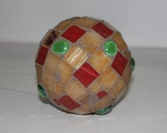 Tan Garden Mosaic Hanging Ball Medium size