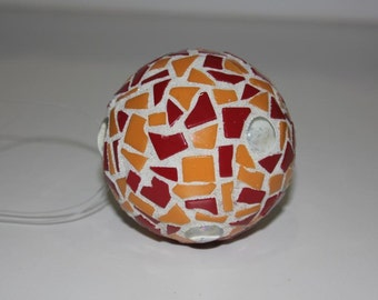 Orange and Red Hanging Garden Mosaic Ball Small