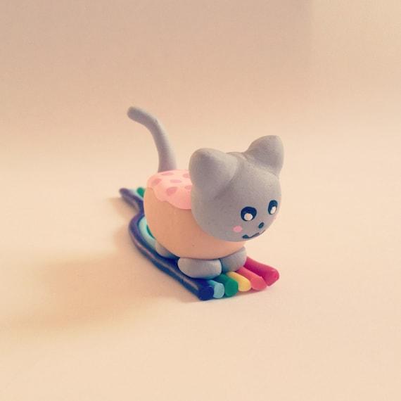 Items similar to Nyan Pop-tart Cat Rainbow Figurine Cute ...