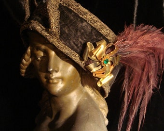 GOTHIC VICTORIAN EDWARDIAN Ornate Black Velvet Feathered Hat at Gothic Rose Antiques