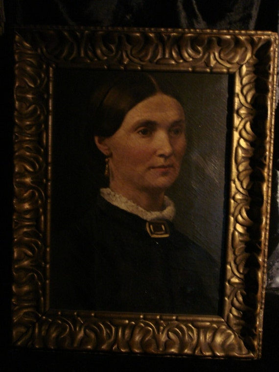 REDUCED - Antique Oil Painting Portrait on Canvas framed in old gold gesso frame at Gothic Rose Antiques