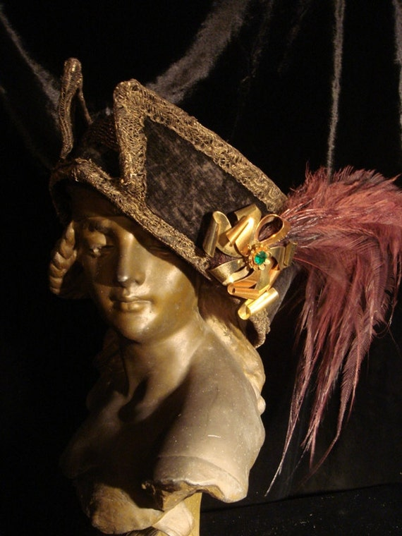 Reduced - GOTHIC VICTORIAN EDWARDIAN Ornate Black Velvet Feathered Hat at Gothic Rose Antiques