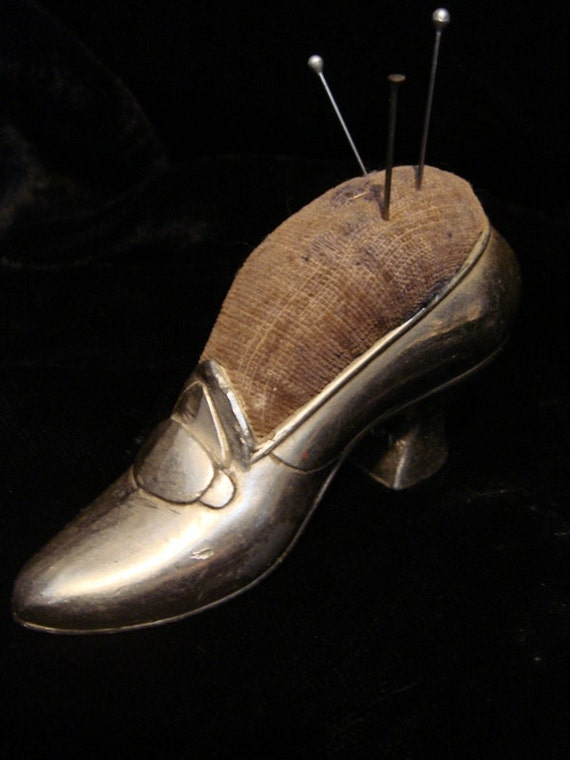 Petite Antique Victorian Shoe Pin Cushion Sewing Collectible at Gothic Rose Antiques