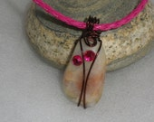 Rose Colored Beach Stone Necklace