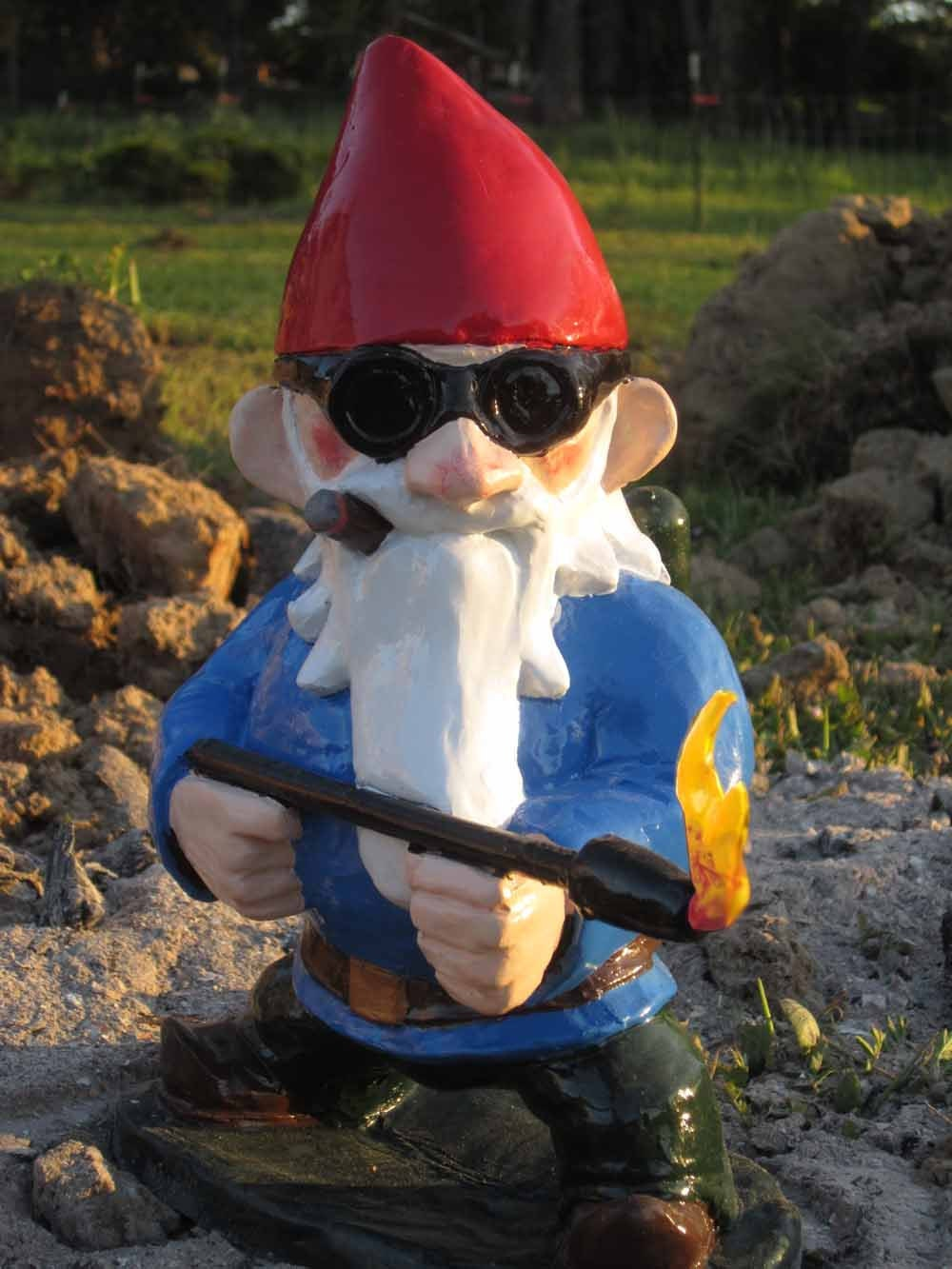 combat garden gnome with flamethrower