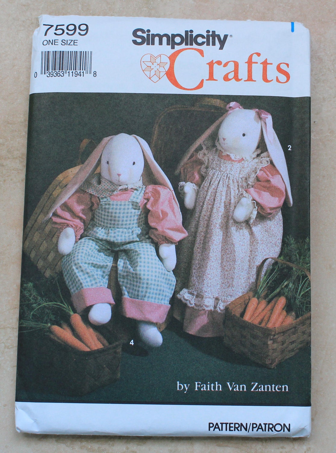 vintage simplicity crafts pattern 7599 bunny and by