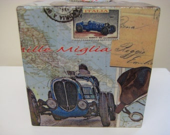 Vintage Car  Wooden Tissue Box Cover