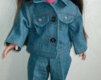 American Girl style Jeans and jean jacket, 70's Hippie
