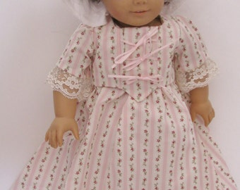 American Girl style Colonial dress,bodice, cap, pantaloons