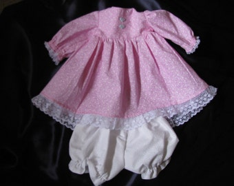 American Girl Doll Pretty in pink Bitty Baby style floral dress and panties with lace