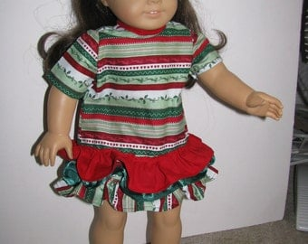 Christmas American Girl Doll Style Tiered Dress
