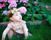 Crochet Headband w/Medium Daisy