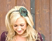 SARAH- Comfortable Emerald Peacock Feather Headband
