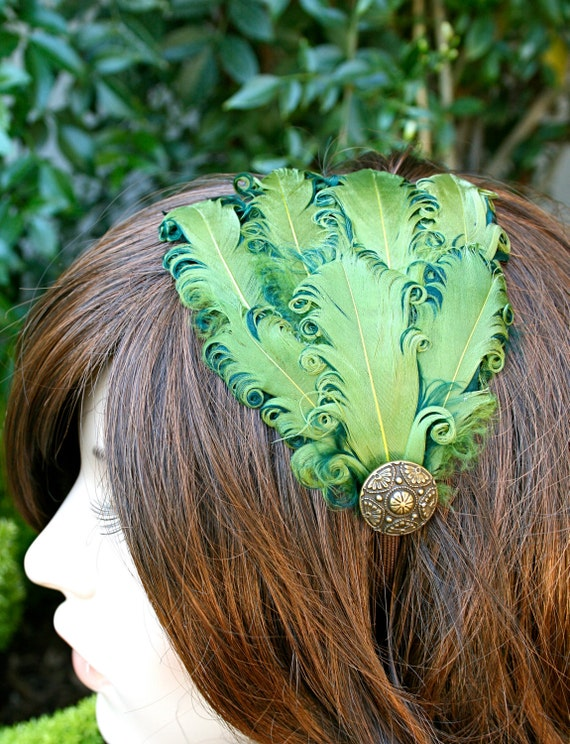 COLLEEN- Comfortable Green Feather Headband (only 1 left)