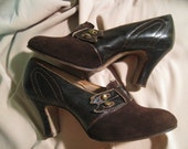 Brown Suede and Leather 1920s Shoes  like new