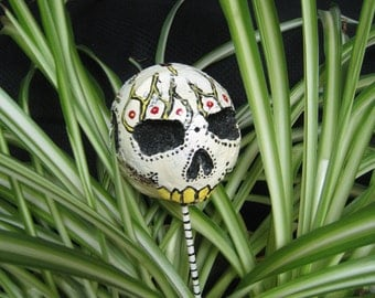 Scary De Los Muertos inspired  skull decoration hand painted
