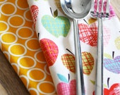 Napkins - Harvest Colored Apples with Yellow and White Circles - Back to School - Set of 4 Reversible Cloth
