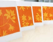 Note Cards - Orange Floral Fabric - Set of 4 (Blank)