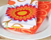 Cloth Napkins -  Floral with Orange Squiggle - Set of 4 Reversible Cloth