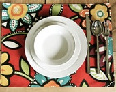 Cloth Placemats - Red Big Floral - Set of 2