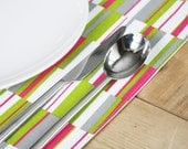 Cotton Placemats - Pink Green Grey and White - Set of 4
