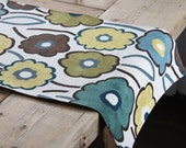 Handmade Table Runner - Brown, Blue and Green Flowers - izyandoly
