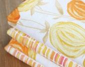 RESERVED for KIM - Reversible Napkins - Tangerine Flowers - Set of 4 Reversible Cloth