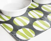 Pet-Mat - READY TO GO - Green Stripey Circles with Vinyl Covering: Mid-Size