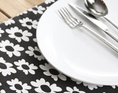 Placemats READY to Ship - Black with White Flowers  - Set of 4 - LAST SET in this style