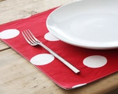 Cloth Placemats - Red with White Polka Dots - Set of 4 - FREE SHIPPING