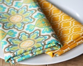 Napkins - Blue, Green, Yellow Floral - Set of 4 Reversible Cloth - LAST SET AVAILABLE
