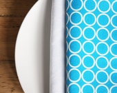 Cloth Napkins - Blue with White Circles - Set of 4 Reversible Cloth