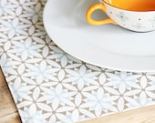 Cloth Placemats - Blue with Greyish Brown Design  - Set of 4