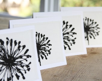Fabric Note Cards - White with Black Dandelions Fabric - Set of Blank 4 - Hand Cut Cards