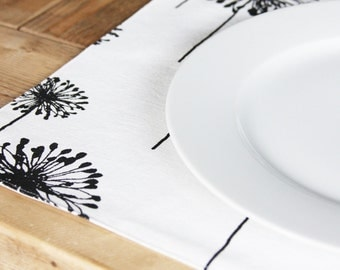 Placemats - AS SEEN in The Party Dress Magazine - Black Dandelions on White - Set of 4