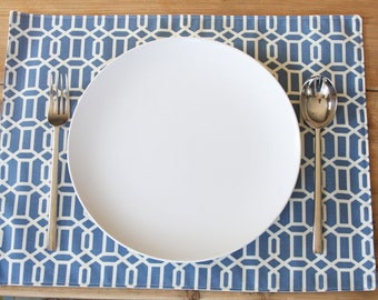 Cloth Placemats - Blue Hexagon - Set of 4 - Can be found on iVillage.com Top 50 under 50 Summer Finds