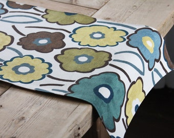 Handmade Table Runner - Brown, Blue and Green Flowers