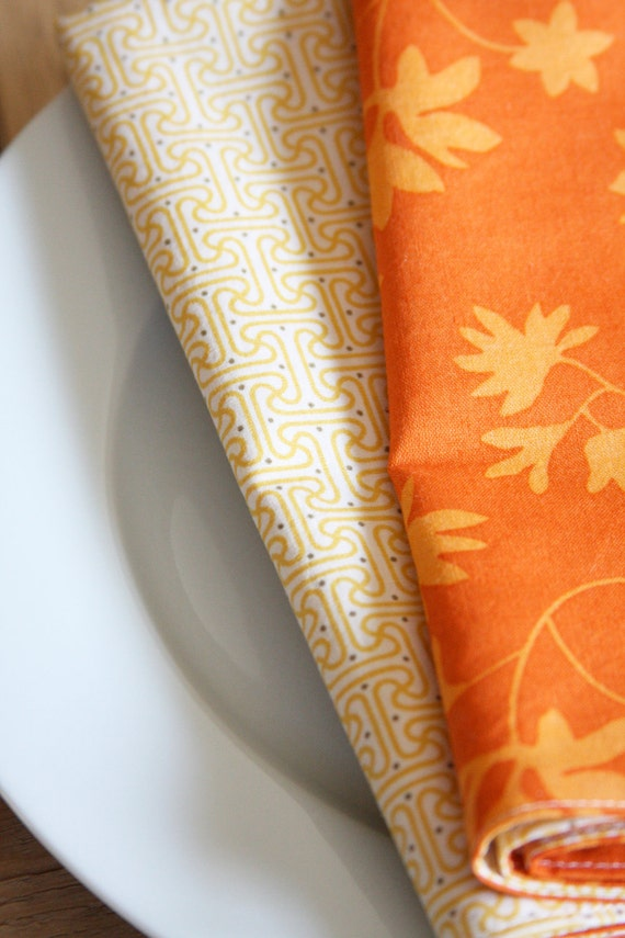 Cloth Napkins - Orange Leaves with Yellow Modern Style - Set of 4 Reversible Cloth - LAST SET AVAILABLE in this style