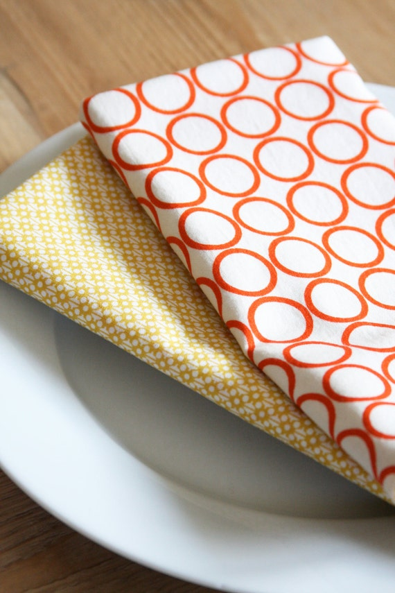 Napkins - White with Orange Circle and Yellow Modern Style - Set of 2 Reversible Cloth