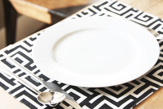 Placemats - Black and White Aztec Square- Set of 4 - FREE SHIPPING
