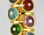 3x Candy Color Gemstone Stacking Gold Rings with Round Cushion