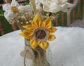 Summer Sale - Rustic burlap Fabric flowers centerpiece handmade fabric sunflowers daisies magnlia rustic style